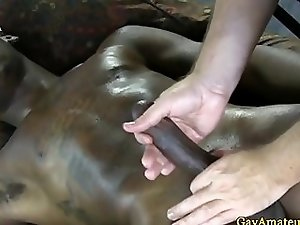 Ebony jock receives homo erotic massage