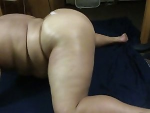 shaking fat ass in white thong!