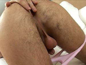 Super sexy brunette euro twink fingers his hairy asshole and jerks his enormous cock