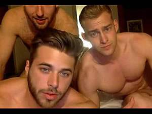 Hot male threesome - muscled gays posing naked